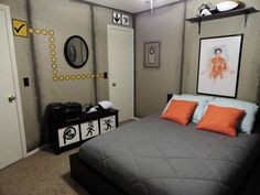 Portal themed bedroom (with actual portals that light up!)