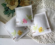 Vintage Embroidered Roses LAVENDER SACHETS by VintageHome on Etsy