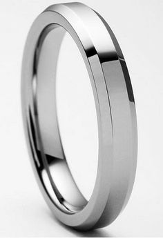 ST. LOUIS style Tungsten Ring with Beveled Edges and Polished Finish $49