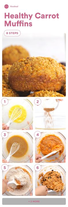 Healthy Carrot Muffins with applesauce, oatmeal or oat bran, whole wheat flour and honey. Your family will love them! Healthy Carrot Muffins, Carrots Healthy, Healthy Muffin Recipes, Oatmeal Muffins, Whole Wheat Flour, Clean Eating, Rolls, Honey, Bread