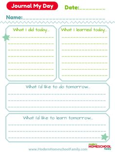 Free Printable Daily Homeschool Journal | This free printable daily homeschool journal is especially designed to help children think about what they learned each day and ask questions.