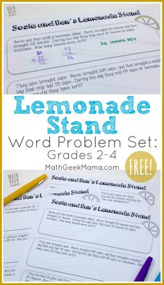 {FREE} Lemonade Stand Word Problems for Grades Here is some great work problem practice with a lemonade stand theme! This is a free printable math worksheet! Word Problems 3rd Grade, 3rd Grade Words, Math Story Problems, 4th Grade Math, Grade 3, Second Grade, Math Activities For Kids, Fun Math, Math Resources