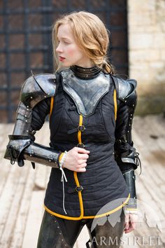 "Gorget and Arms with Pauldrons Blackened Spring Steel Set ""Dark Star"" Fantasy Female Warrior, Female Armor, Fantasy Armor, Armor Clothing, Medieval Clothing, Medieval Costume, Medieval Armor, Armadura Cosplay, Armadura Medieval"