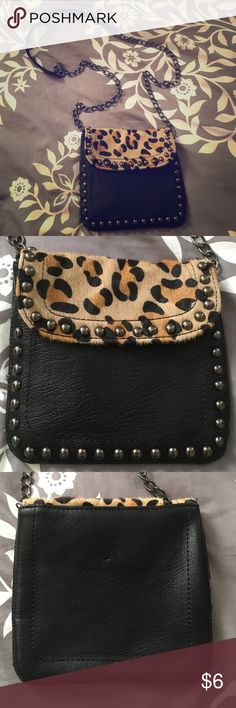 Expressions Inc. purse Small purse with magnetic closure, black with cheetah print, black and chain strap, black lining inside, never used, 6x6 inches Bags Mini Bags