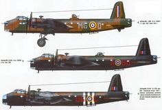 """Early War RAF """"Short"""" Stirling Mk 1/2 Heavy Bombers. They were quickly replaced by the Lancaster."""