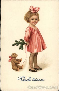 """""""Little girl and her teddy"""", a antique Christmas postcard . Christmas Scenes, Noel Christmas, Pink Christmas, Christmas Greetings, Christmas Postcards, Xmas, Vintage Christmas Images, Victorian Christmas, Christmas Pictures"""