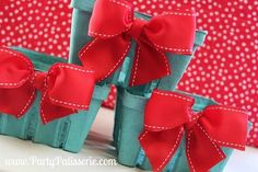 Red Bow Berry Basket