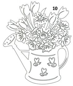 watering can flowers embroidery ile ilgili görsel sonucu Paper Cutting Patterns, Wood Carving Patterns, Kirigami, How To Make Paper, Crafts To Make, Paper Pot, Intarsia Woodworking, Scroll Saw Patterns, Paper Stars