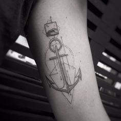 Fine Line Anchor Tattoo by Balazs Bercsenyi
