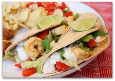 Tequila-Lime Shrimp Tacos with Chipotle Cream