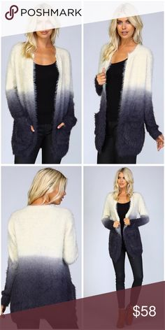 Stunning ombré shaggy fur open cardigan! • Knit crochet open cardigan • Ombre color scheme • All over shaggy fur • 2 front pockets Sweaters Cardigans