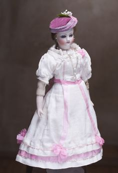 """11"""" (28 cm) Antique French bisque head small fashion doll in original dress"""
