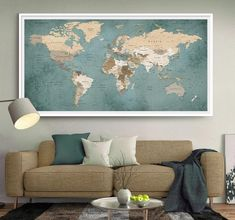"""Purchase this amazing """"Escape The World"""" Watercolor Canvas Painting we will ship the item for free. This is the perfect centerpiece for your home. World Map Decor, World Map Wall Art, World Map Poster, Superhero Room Decor, Superhero Wall Art, Grand Format, Large Format, Art Harry Potter, Detailed World Map"""