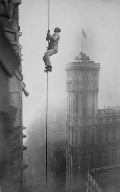 """The """"Human Squirrel"""" who did many daring """"stunts"""" in climbing for benefit of War Relief Funds in New York City. 1918."""