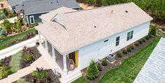 Episode Coastal bungalow: For their bungalow, Home Free designers used Landmark® shingles in Sunrise Cedar. Certainteed Shingles, Cedar Shingles, Shingle Colors, Cedar Roof, Roofing Options, Episode 3, Light Colors, Bungalow, Sunrise