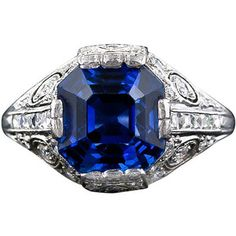 +art nouveau sapphire jewelry | Tiffany & Company Art Deco Sapphire and Diamond Ring - Lang Antiques ...