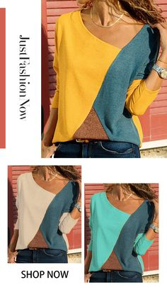 fashion coat clothing clothing fashion Long Sleeve Patchwork Vintage V Neck T-Shirts . Fall fashion ideas, classical joker items Must buy list. Casual Tops For Women, Trendy Tops, New Outfits, Casual Outfits, Fashion Outfits, Casual Travel Outfit, T Shirt Sewing Pattern, Fashion Fall, Fashion Ideas
