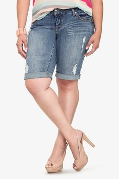 With prominent double stitch details and destructed accents, these cuffed Bermuda shorts are destined to feature prominently in your warm-weather wardrobe. The perfect balance of casual and chic. Modest Shorts, Plus Size Shorts, Torrid, Short Outfits, Warm Weather, Casual Wear, Plus Size Fashion, Denim, My Style
