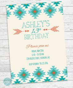 Tribal Aztec Birthday Invitation, Printable Tribal Invitation, Aztec Printable Invitation, Boho, Bohemiam, Sweet 16, Teen Birthday, Tween by FlairandPaper on Etsy