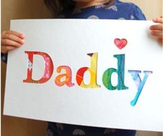 32 Best Homemade Fathers Day Gifts - Tip Junkie==some cute deas for dad and grandpa (especially for those hard to buy for) like this daddy picture, could also do with individual letters and each kid creating a background. #fathersday Father's Day gifts