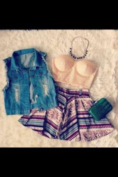 Cute crop top and skirt
