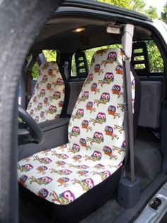 1 Set Of Yellow Owls Print Custom Car Seat Covers By ChaiLinSews Cars