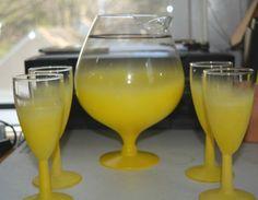 1970s-Art-Deco-Glass-Drink-Set-Yellow-Fish-Bowl-Pitcher-Barware-Great-Summer