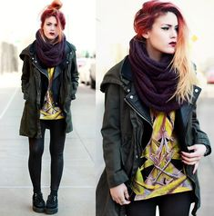 Chicwish Leather Vest/Jacket, Bang Good Parka, River Island Scarf, Choies T Shirt, Creepers