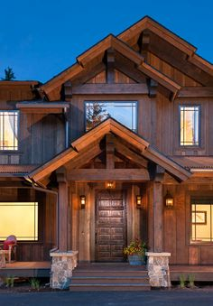 Log Cabin Living, Log Cabin Homes, Timber Frame Homes, Timber House, Home Building Design, House Design, Le Ranch, Casas Country, Exterior House Siding