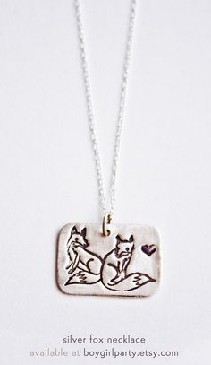 Sterling Silver Fox Necklace – ♥ ♥ ♥ – available at http://boygirlparty.etsy.com #fox #necklace #jewelry #cute #craft