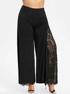 b8dc93cc9253 Women s Plus Size High Slit Lace Palazzo Pants Trousers Xl Wide Leg Pants