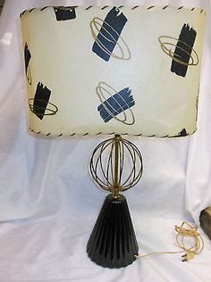 Vintage Mid Century Atomic Lamp w Black Gold Oval Fiberglass Lamp Shade | eBay