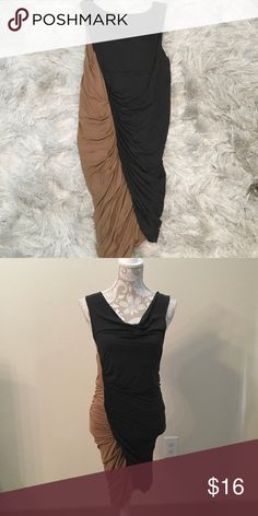 New- Olive/camel rouched dress SZ L Excellent condition, only worn once, dress is perfect to cover mid section because of rouging, the colors are olive and camel and go sideways once on. Size is large and dress stretches. Cotton/elastic blend Lush Dresses