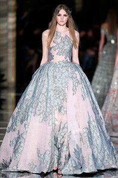glamorous princess wedding dress with floral pattern