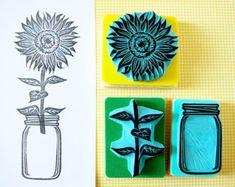 Sunflower rubber stamp, Mason jar, flower vase, sunflower, hand carved, wedding decor idea