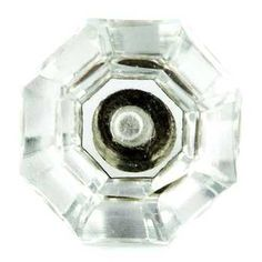 Small Clear Glass Faceted Octagonal Knob