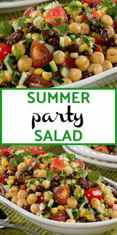 Party Salad Break out the pita chips and set out a bowl of this Summer Party Salad. This diabetic-friendly salad is full of color, taste, and nutrition!Break out the pita chips and set out a bowl of this Summer Party Salad. This diabetic-friendly salad is Bean Salad Recipes, Healthy Salad Recipes, Vegetarian Recipes, Cooking Recipes, Diabetic Salads, Garbanzo Bean Recipes, Vegetarian Pasta Salad, Salad Recipes For Parties, Healthy Pasta Salad