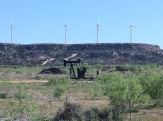 Old and new. Oil and wind. Somewhere between Post and Snyder. Snyder Texas, Wind Farms, Loving Texas, West Texas, Old And New, Oil, Holidays, Pictures, Travel