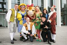 The cast of Jack and the Beanstalk with the Sugar Snap Fairy at Canterbury's Marlowe Theatre