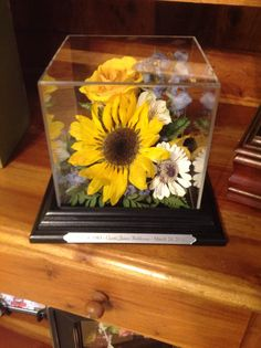 Flower preservation, dried flowers, sunflowers, gerber daisy, yellow rose...beautiful tribute in honor of loved one www.suspendedintimeoflayton.com Flower Preservation, Curio Cabinets, Gerber Daisies, How To Preserve Flowers, Craft Corner, Yellow Roses, Dried Flowers, Sunflowers, Preserves