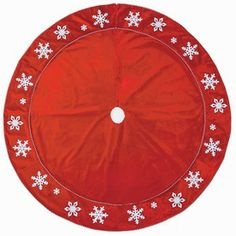 Holiday Living�56-in Red Velvet Christmas Tree Skirt with Snowflakes