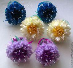 Купить Заколка Василек - васильковый, однотонный, канзаши, резинка для волос, резинка для девочки, заколка для волос