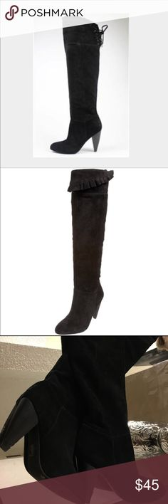elegant thigh high BCBG suede boots sam edelman Gorgeous comfy elegant real suede boots. Two friends wanted so badly to be able to buy these from me but couldn't fit them (they wore size 7!). They are just beautiful enough to update any outfit to several notches upscale. However, still daring enough to even wear out at night! These are 6.5 but I'm a true 6 wore them with thick socks. Thick heel is just short of 4 inches-I wore these through the downtown cities of Chicago in the winter ❄️…