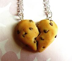 chocolate chip cookie best friend necklaces half broken heart friendship necklace polymer clay from ScrumptiousDoodle on Etsy. Saved to My Bomb A**. Bff Necklaces, Best Friend Necklaces, Best Friend Jewelry, Valentines Day Chocolate Chip Cookies, Best Friend Outfits, Friendship Necklaces, Polymer Clay Miniatures, Cute Jewelry, Jewlery