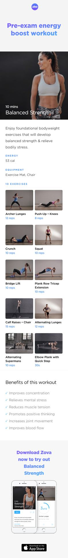 Feeling sluggish? Hours of studying will do that to you! What you need is this short bodyweight workout to boost your energy levels, increase your focus and help with your next exam performance. This workout also increases your endorphin levels, meaning you'll be less stressed and happier. #weightloss #workout #fitness #HIIT #fullbody #sweat #bodyweight #calories #athome #student