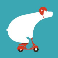 Polar bear on scooter Art Print