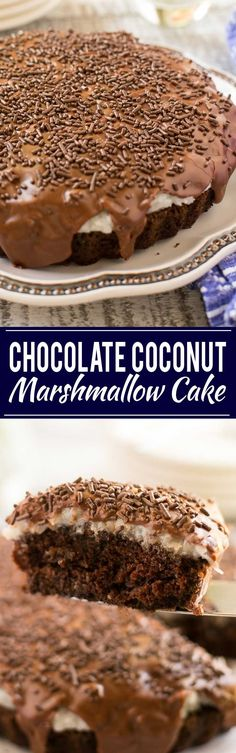 A rich chocolate cake topped with a creamy coconut marshmallow sauce and finished off with a layer of chocolate frosting. My husband's absolute favorite cake!