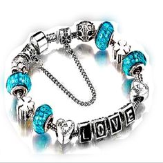 Love Ice Blue Crystal Silver Plated Bracelet