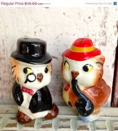 Vintage owl salt and pepper shakers ceramic by LititzCarriageHouse