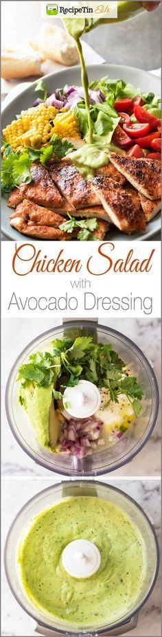 Salad with Avocado Dressing Chicken Salad with Avocado Dressing - The creamy, healthy avocado dressing is the star of this!Chicken Salad with Avocado Dressing - The creamy, healthy avocado dressing is the star of this! Avocado Dressing, Clean Eating, Healthy Eating, Healthy Fit, Avocado Chicken Salad, Avocado Salad, Healthy Salad Recipes, Lunch Recipes, Dinner Recipes